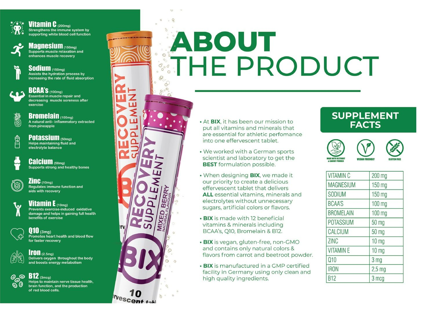 Bix includes 12 essential vitamins, minerals and electrolytes in just 1 effervescent tablet.